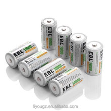 EBL Pack of 8 10000mAh Ni-MH D Cells Rechargeable Batteries