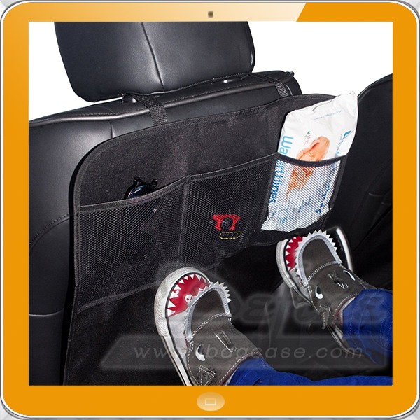 Durable large car seat kick mats with mesh pocket storage organizer