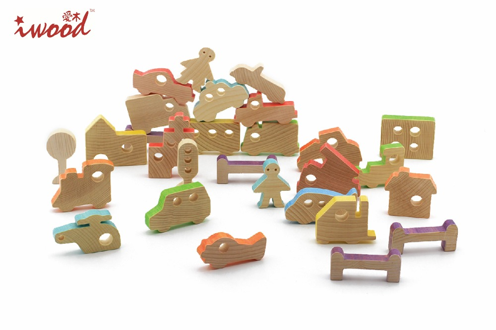 Wholesale toys wooden toys producer Beech wood Wooden Construction Blocks