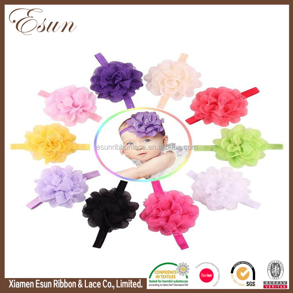 Cute girls floral printed baby headbands with chiffon flower bows