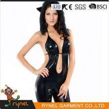 PGWC1453 Wholesale Latest Sexy Leather Women Catsuit