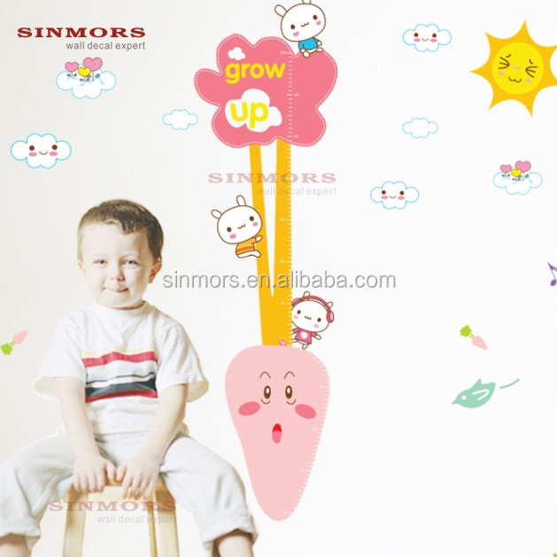 Radish Cartoon Children Grow Up Wall Height Growth/Kids Height Measurement Wall decoration Sticker Growth Chart
