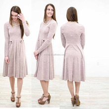 ladies party wear gown Spring Autumn Wear Women O Neck Long Sleeve Knit Button Detail Sweater dress Designer Frock