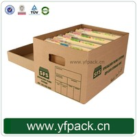File Storage Files Decorative Organizer Custom Printed Corrugated Box With Handle Office Stationery