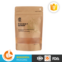 tea packaging food brown kraft doypack custom paper bag with zipper