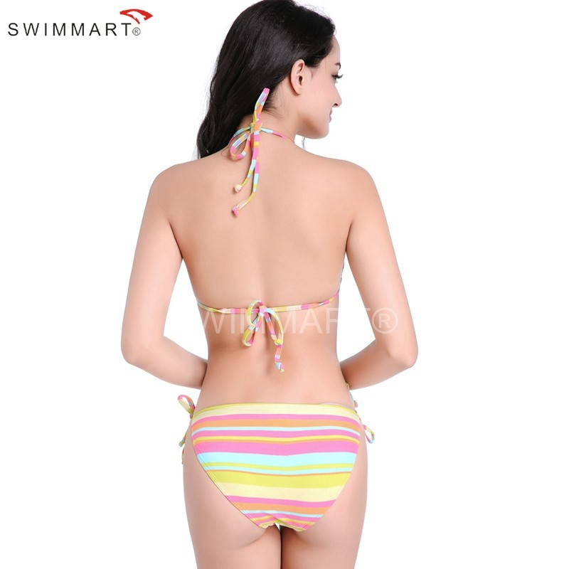 Rainbow Stripes Strappy Fully lined Bikini Swimwear Holiday Spa Bathing suits