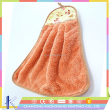 Promotional Super Soft High Absorbent Microfiber Hanging Coral Fleece Cartoon Hand Towel