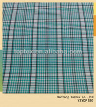 32X32 100X80cotton woven fabric yarn dyed large green checks shirt fabric