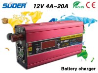 Suoer Digital Car Battery Charger 20A Full Auto Car Battery Charger 12V Portable Solar Charger