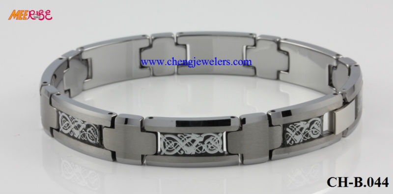 Hot sale metal inlaid tungsten bracelet 10.5mm width silver tungsten magnetic dragon bracelets men