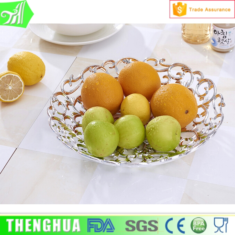 OEM gold fruit plate plating silver decorative large plastic trays