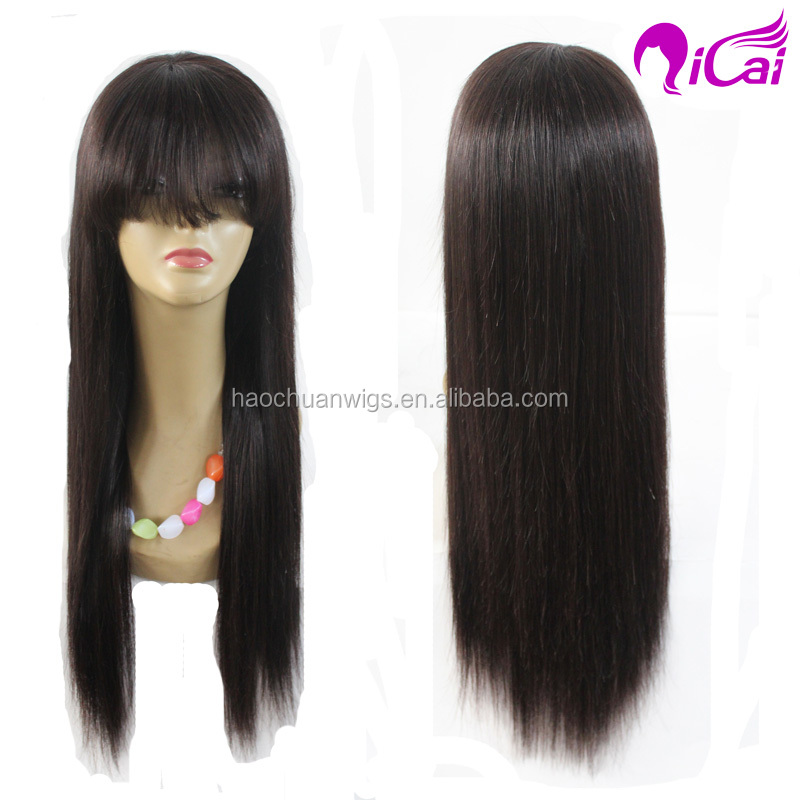 high quality 26 inch wig with bangs ,peruvian virgin hair 100% cuticle hair full lace wig
