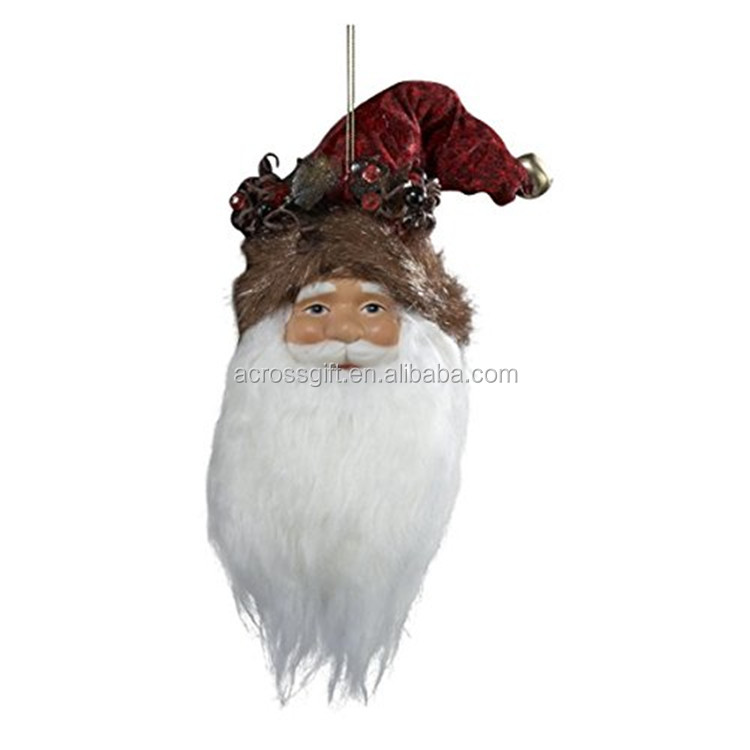 personalized handmade painted color glazed decorative christmas porcelain santa heads