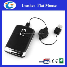 Computer Accessories Wired Optical Leather Mouse with embossed logo