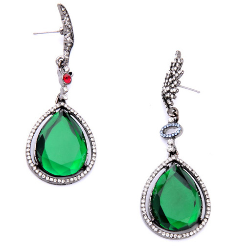 Women fashionable royal green earrings new fashion emerald green earrings immitation costume jewelry new