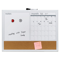 Aluminum magnetic white cork board