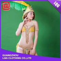 Sexy yellow samba style rhinestone beaded feather costumes to party
