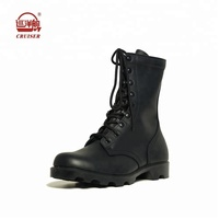 classic black genuine leather swat working boots for men