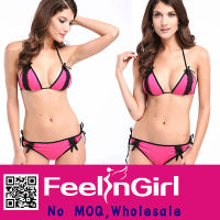 2014 new wholesale cheap 2PC fashion pink extreme bikini model
