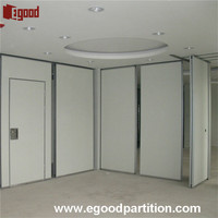 sliding folding partition wall for room dividing with pulleys on ceiling