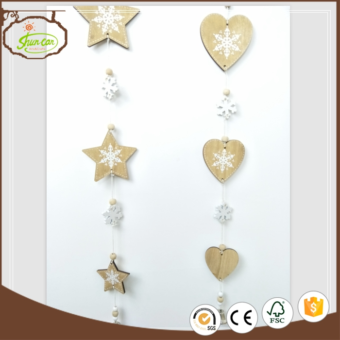 New brand 2017 wooden christmas star garland tree ornaments with certificate