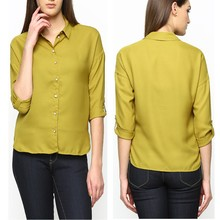 Mustard Yellow Casual Shirt fat women chiffon blouse