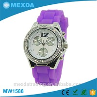 Charming miyota japan movt diamond watch case silicone girl dress watch
