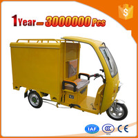 electric motor cargo trike with closed cabin