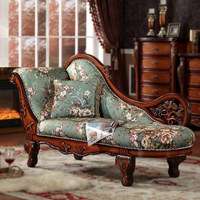 MOQ=1set Traditional Rococo Carving Solid Wood Chaise, Classic 2 People Elegant French Vintage Lounge Suite