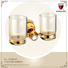 Recessed glass cup holder gold bathroom accessories set