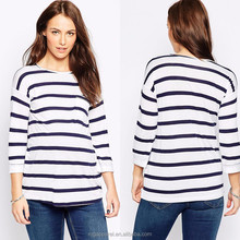 100% Viscose fashion stripe maternity tops 3/4 sleeve round neck maternity blouse