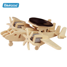 Robotime wooden puzzle solar energy toy P340 Early Warning Plane DIY 3D wooden puzzle educational toy