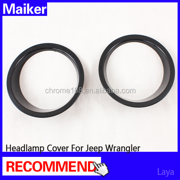 ABS Black Headlamp Cover Auto Accessories for jeep Jk led headlight cover