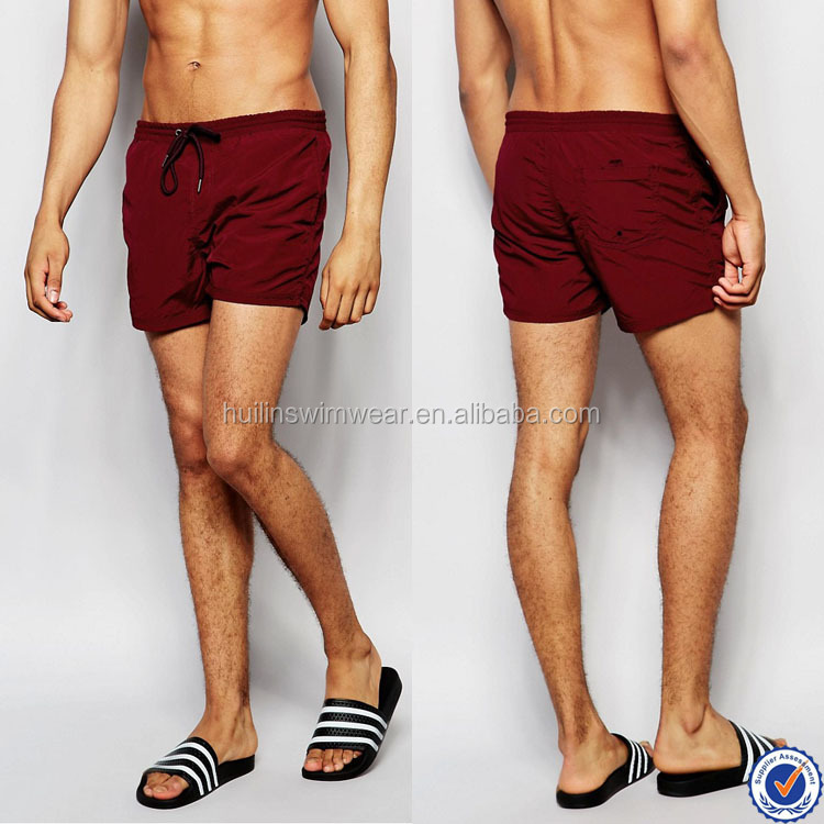 mens swimwear in guangzhou drawstring waistband 100% nylon mens swim trunks in burgundy