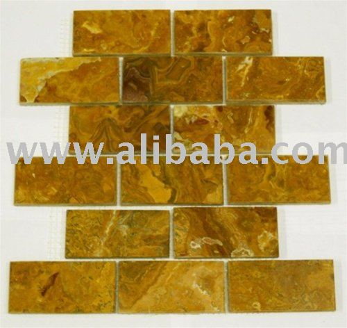 MULTI BROWN ONYX POLISHED SUBWAY BRICK PATTERN MOSAIC TILE KITCHEN BACKSPLASH BATHROOM MARBLE GRANITE STONE SHOWER WALL FLOORING