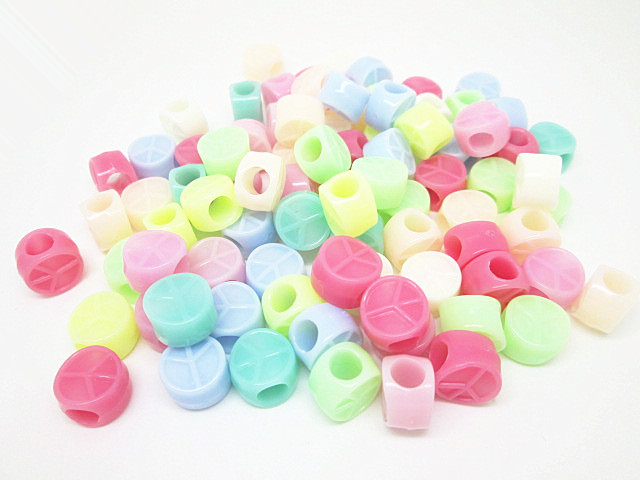 Free Shipping!200pcs 10*7mm Multi Ice Cream Pony Round Beads Acrylic Round Peace Sign Lacing Bead For DIY Jewelry