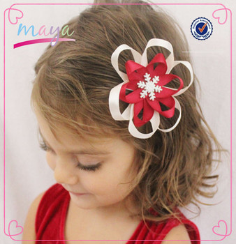 Colorful christmas red white ribbon flower clips