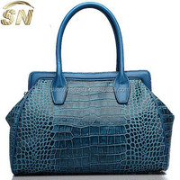 ladies' leather tote bag,crocodile leather lady handbags in China manufactory