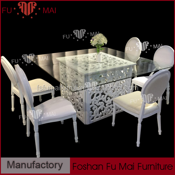 HW-9006 used white table carved furniture wood base with glass top