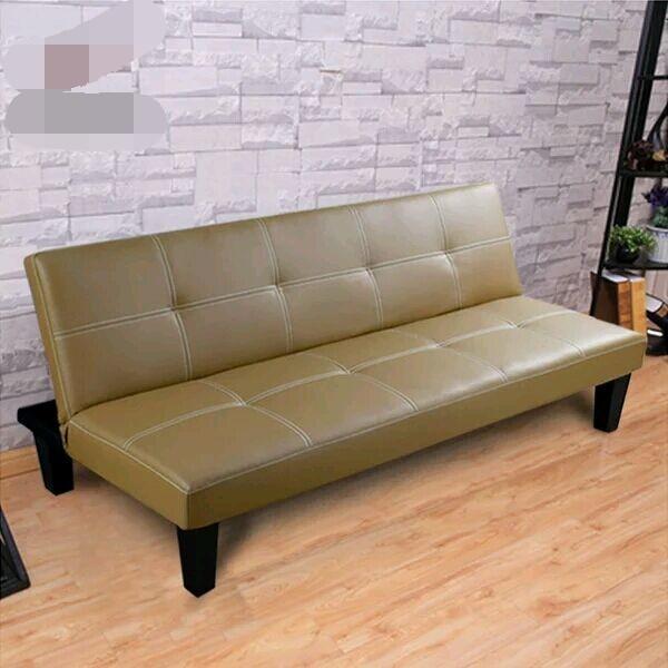 Sof cama de cuero de imitaci n solo asiento sof cama for Sofa cama individual plegable