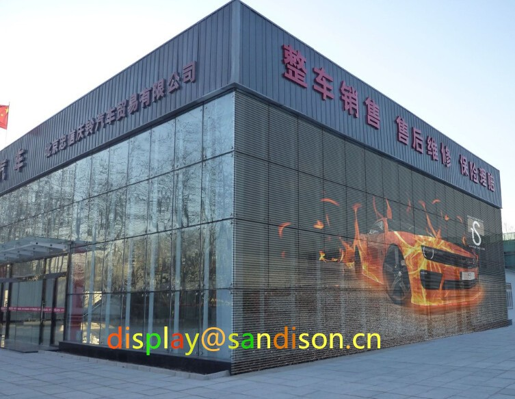 Transparent Curtain Mesh Led Display Front Service trip tube outdoor waterproof LED screen advertising Displays
