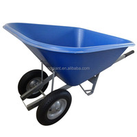 140L pure plastic wheelbarrow WH8802 with two 16 inch pneumatic wheels