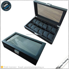 12 Slot Wholesale Black Wooden PU Leather Watch Display Box with Pillow