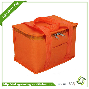 Recycled handled with zipper cooler tote bag for frozen food