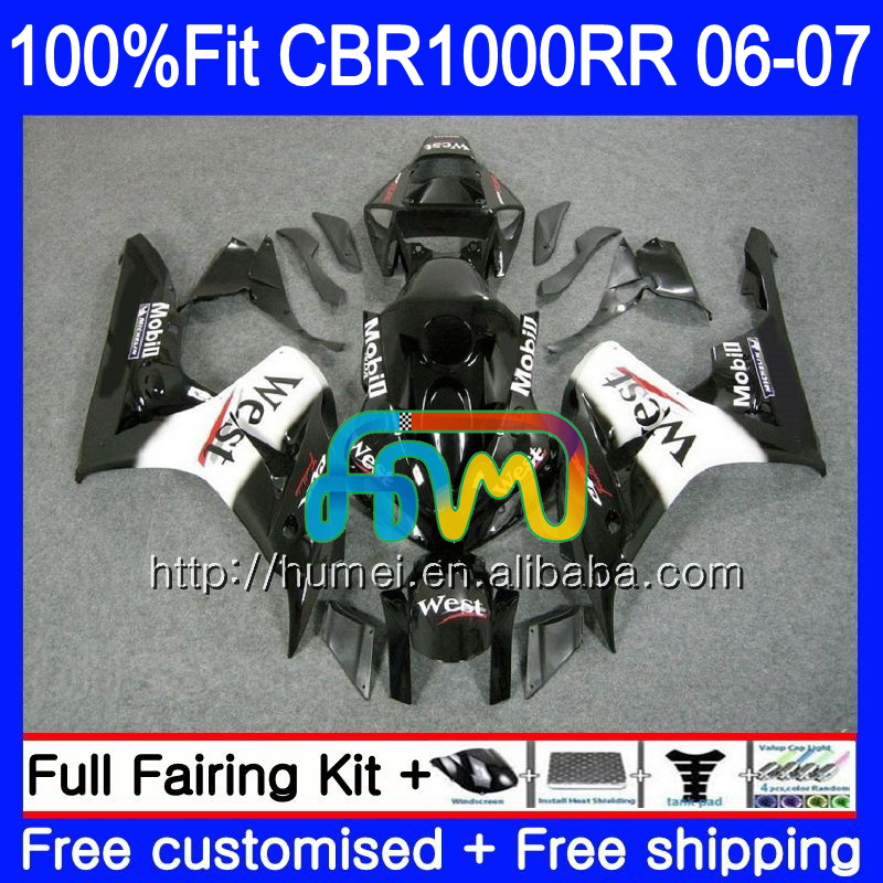 Injection Body For HONDA CBR 1000 Black west RR 06 07 CBR 1000RR 86HM24 CBR1000RR 06 07 CBR1000 RR 2006 2007 OEM Fairing kit