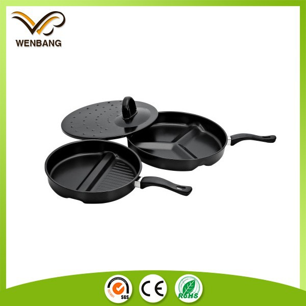 Carbon steel fry pan,non-stick round shape divided fry pan