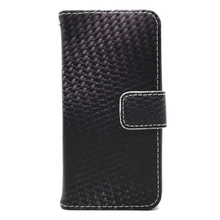 Carbon fiber wallet flip leather phone case for iPhone5 SE