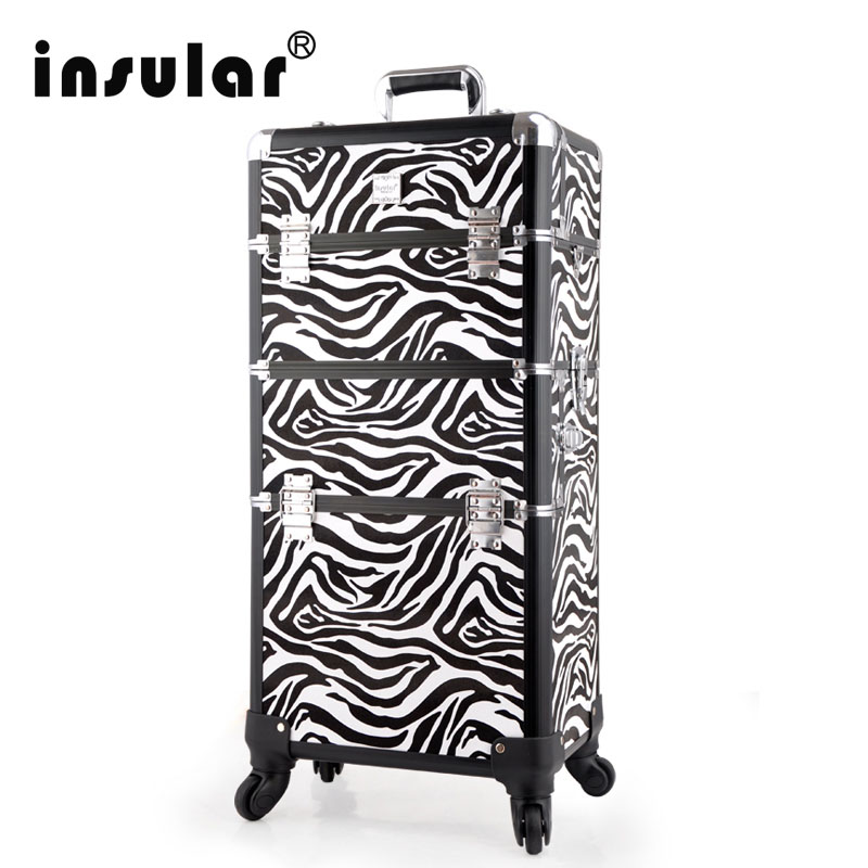 King Size Capacity Makeup Cosmetic Train Rolling Case Lockable Box