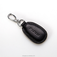Quality genuine leather key fob embossed logo leather key ring