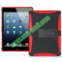 Antiskid 2 in 1 Defender Tough Back TPU and PC Hybrid Case for iPad mini 3 with Kickstand